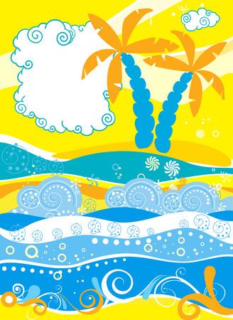Decorative sea landscape for design Stock Vector - 5345743