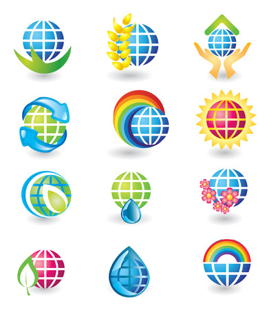 Set of globe design elements Vector
