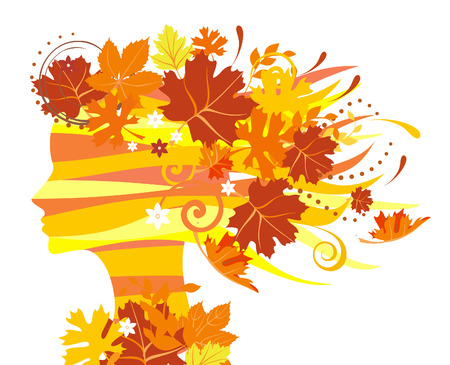 Decorative silhouette of woman with autumn leaves Stock Vector - 5414037