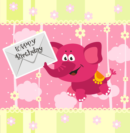 Birthday announcement card with funny pink elephant  Vector