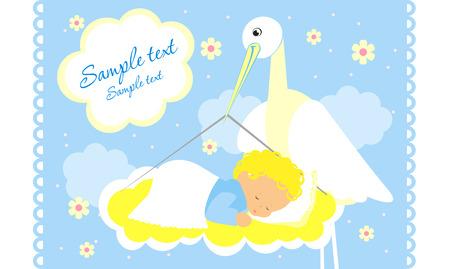 Scheda di annuncio baby arrivo con cicogna