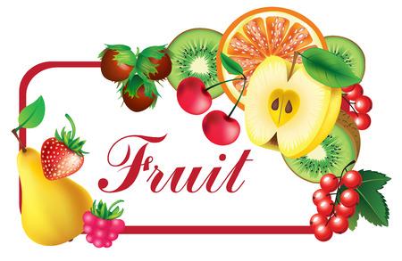 Frame with fruit -  kiwi, apple, strawberry, nuts,orange Vector