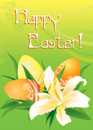 Easter card with easter eggs and lily on green background Vector