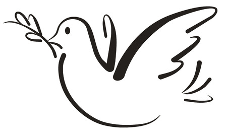 Dove holding an olive branch in a symbol of peace and unity