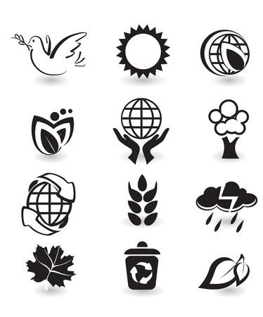 hand logo: Set of design elements. Nature. Illustration