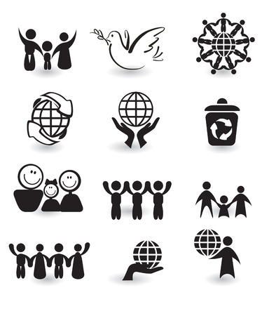 ni�os reciclando: Conjunto de elementos de dise�o - iconos de paz blanco y negro Vectores
