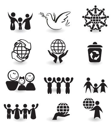 Set of design elements - peace black and white icons Illustration