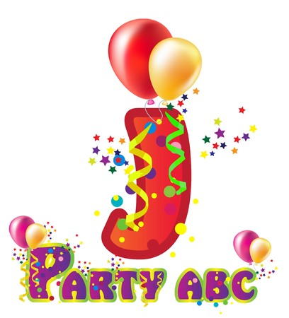 word balloon: Decorative party letter with sample text for design