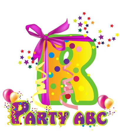 names: Decorative party letter with sample text for design Illustration