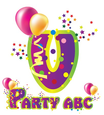 word balloon: Decorative party letter with sample text for design Illustration