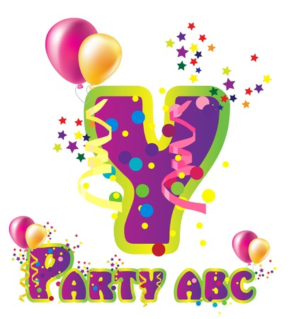 beautiful alphabet: Decorative party letter with sample text for design Illustration