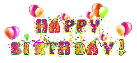 Decorative birthday text for design with balloons Vector