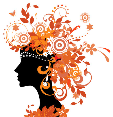 Decorative silhouette of woman with autumn leaves  矢量图像