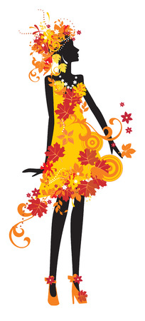 Decorative silhouette of woman with autumn leaves  Illustration