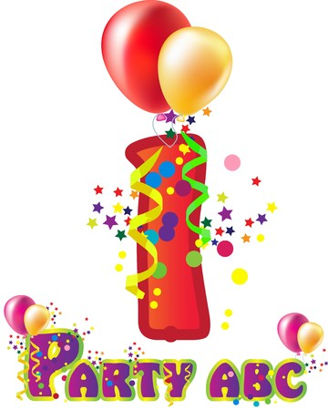 Decorative party number with sample text for design