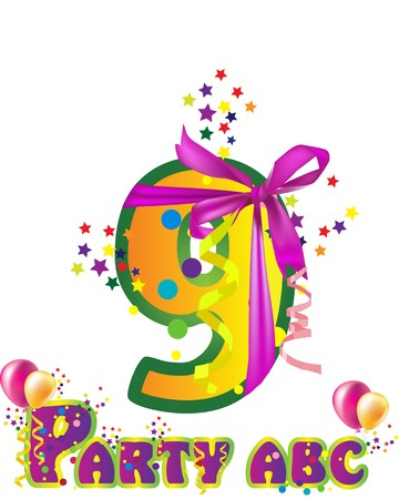 names: Decorative party  number with sample text for design