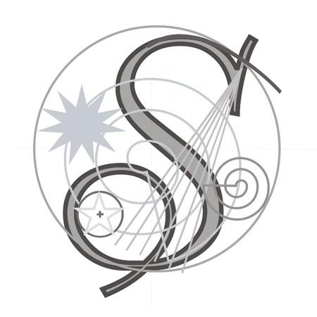 construction paper art: Decorative architectural letter for design