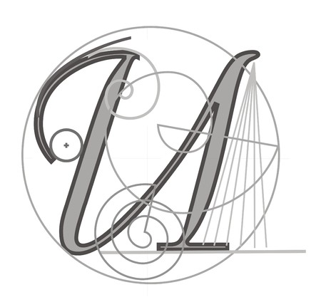 architecture alphabet: Decorative architectural letter for design