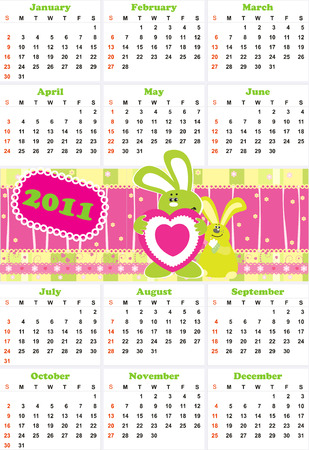 calendar for 2011 with rabbit  Vector