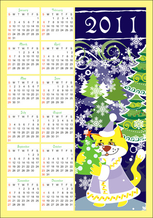 calendar for 2011 with cat Vector
