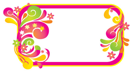 background frame with retro floral elements  Vector