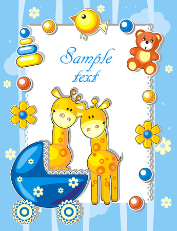 Baby arrival announcement card with giraffes and toys Vector