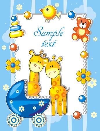 Baby arrivo annuncio card con giraffe e giocattoli