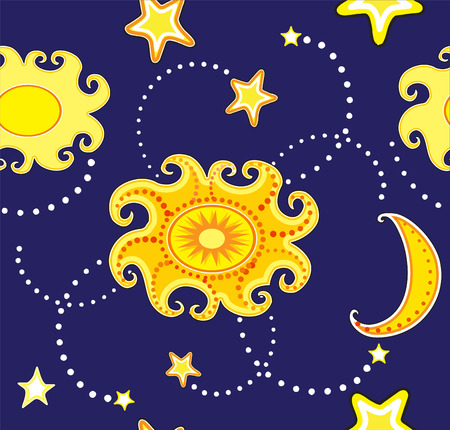 seamless background with sun and stars Vector