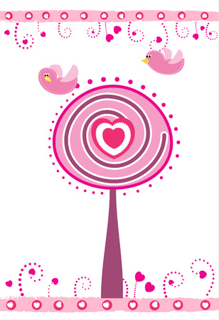 ornamente: Valentines day card with tree, heart and birds