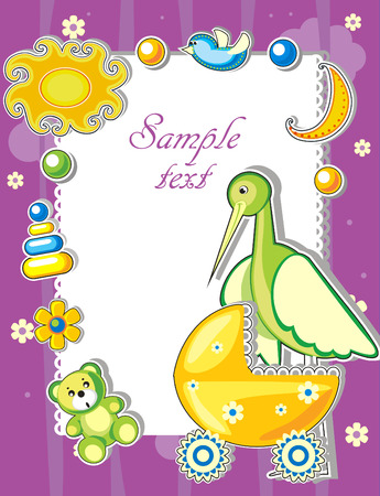 Baby arrival announcement card with stork and toys Stock Vector - 8768859