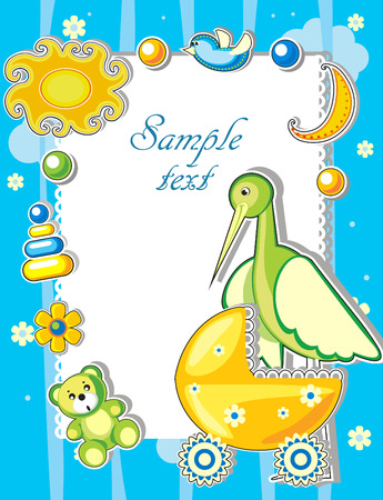 Baby arrival announcement card with stork and toys Vector