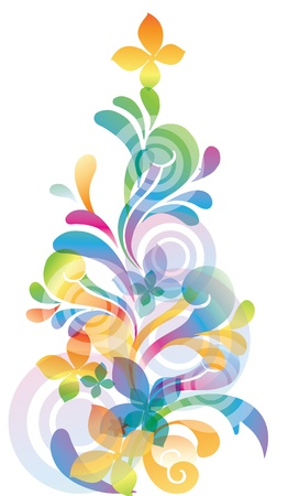Vector rainbow colored background with flowers for design Vector
