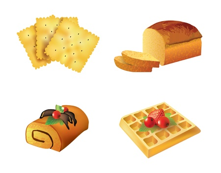 Vector set of pastry objects isolated on white background Illustration