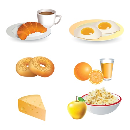 egg cups: Breakfast icon set - cheese, coffee, croissant, eggs, bagels,  fruit
