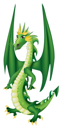 dragon fire: Vector Illustration of Cute Cartoon  green dragon