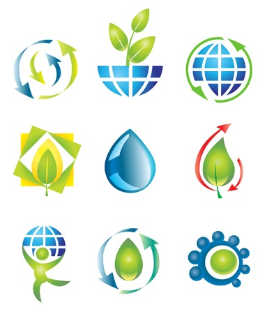 globe logo: Set of nine vector design elements. Nature.