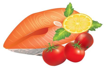 fish steak: Salmon Steak with lemon and cherry tomatoes Illustration