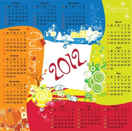 Square  Calendar with four seasons. Vector Stock Vector - 10915223