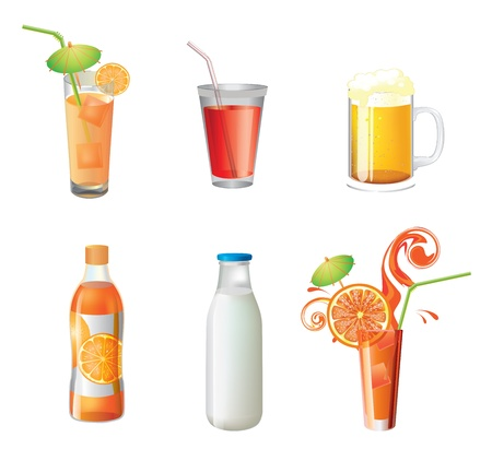 illustration of different beverages on isolated background