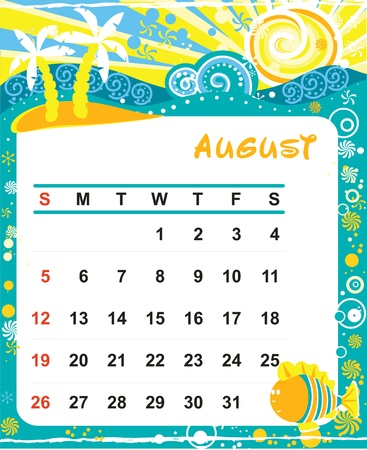 Beautiful vector decorative Frame for calendar - August Vector