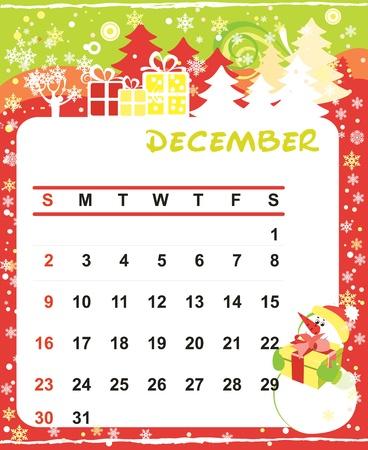 calendario diciembre: Marco de vectores Hermosa decoración para el calendario - Diciembre Vectores