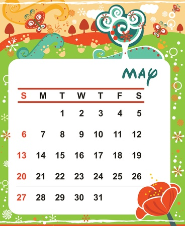 Beautiful vector decorative Frame for calendar - May Stock Vector - 11284750