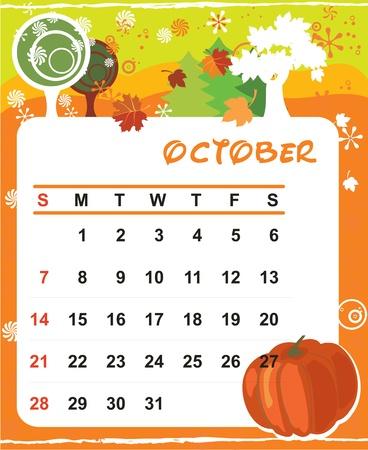 calendario octubre: Marco vector hermosa decoración para el calendario - Octubre