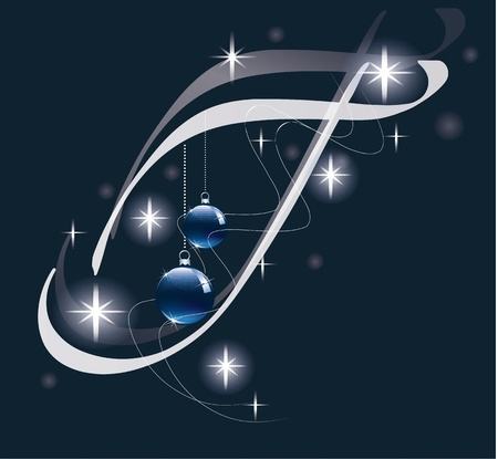 Decorative letter with decorations for Christmas design  Vector