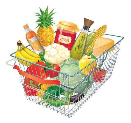 abarrotes: Una cesta de la compra lleno de productos frescos de colores aislados sobre fondo blanco