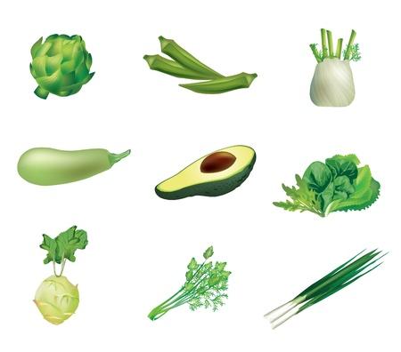 Groene groenten, set van geïsoleerde, gedetailleerde illustraties en pictogrammen