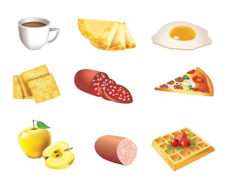 waffles: Alimentaci�n conjunto de iconos - caf�, tortitas, huevos, galletas, salami, pizza, manzanas, salchichas, gofres Vectores