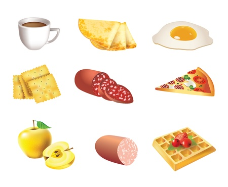 egg cups: Food icon set - coffee, pancakes, eggs, cookies, salami, pizza, apples, sausage, waffles Illustration
