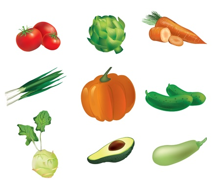 fruit and veg: Vegetables, set of isolated, detailed illustrations and icons