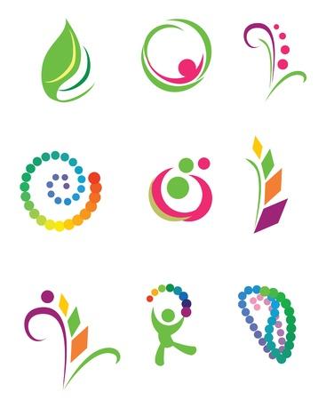 loghi aziendali: Set di elementi di design vettoriale. Natura.